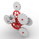 Gears. 3D rendered gray and red gears on white background Stock Photography