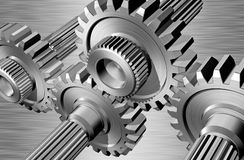 Gears. On steel background Royalty Free Stock Photo