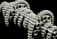 Gears. Close-up of isolated gears Royalty Free Stock Photos