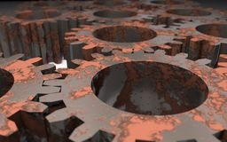 Gears. Background of a 3d image of rusted gears with blur effect Royalty Free Stock Image