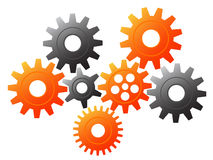 Gears. Vector illustration of orange and silver gears Stock Photo