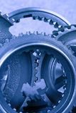 Gears. Metal gears in bluish tint royalty free stock images