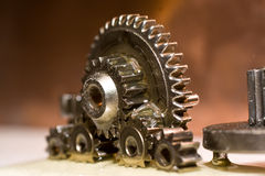 Gears. Planetrary gears standing up with oil all over them Royalty Free Stock Image