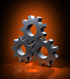 The Gears. Three 3d gears in action. Metaphorical illustration of Industrial workforce, business worflow, teamwork cooperation, energy, transmition, motor Royalty Free Stock Image