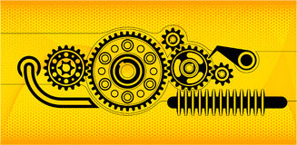 Gears abstract background. Gears on the abstract yellow background vector illustration