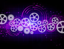 Gears on abstract background with glowing circles. Stock Images