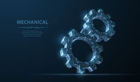 Gears. Abstract vector wireframe two gear 3d modern illustration on dark blue background. royalty free stock image