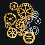 Gears action. Gears in gold and silver Stock Image