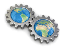 Gears with America and Europe (clipping path included) Stock Image