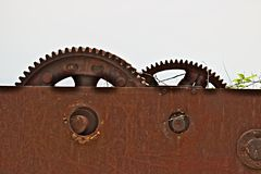 Gears of an ancient iron winch royalty free stock photos