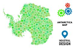 Gears Antarctica Map Collage. Gear Antarctica map collage of small wheels. Abstract geographic plan in green shades. Vector Antarctica map is designed of gear stock illustration