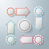 4 Gears With 4 Arrows Cycle. Colorful infographic gears with arrows on the grey background. Eps 10  file Royalty Free Stock Photography
