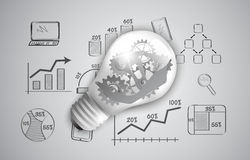 Gears as a design element in a light bulb. Stock Image