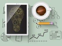 Gears as a design element in a light bulb. Stock Photos