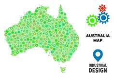 Gears Australia Map Collage. Gear Australia map composition of small wheels. Abstract territory scheme in green color tinges. Vector Australia map is organized vector illustration