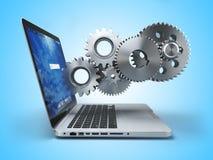 gears bärbar dator Datateknik online-servicePCservice Arkivbild