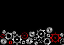Gears background. Composition of metal gears on black background royalty free illustration