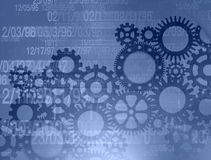 Gears background. An assortment of gears on a blue background Royalty Free Stock Photography