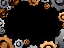 Gears background border. Black illustration Royalty Free Stock Images