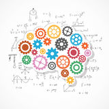 Gears background in brain shape with physics formula. Vector Illustration vector illustration