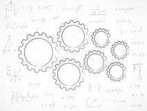 Gears background with physics formula Stock Image