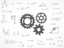 Gears background with physics formula. Royalty Free Stock Image