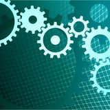 Gears background with techno grid Royalty Free Stock Photo