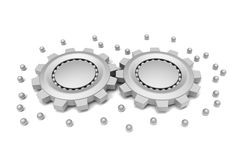 Gears and ball bearings connected. 3D model of gears and ball bearings connected on white background Stock Image