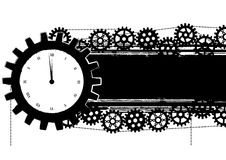 Gears banner with clock Royalty Free Stock Photos