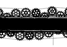 Gears banner. Vector banner with gears and chains in black and white colors Royalty Free Stock Images