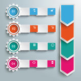 4 Gears Batched Banners Arrows Stock Image