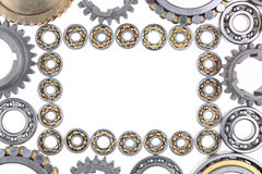 The gears and bearings. This photo shows the gears and bearings on white background stock photography