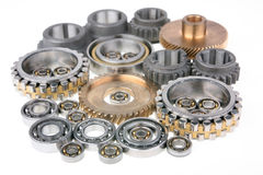 The gears and bearings. This photo shows the gears and bearings on white background stock photo