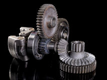 Gears and bearings. Connecting on Black background royalty free stock photos