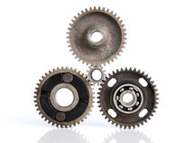 Gears and bearings. Connecting on white background royalty free stock images