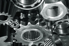 Gears, bearings and bolts Stock Photos
