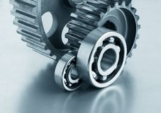 Gears and bearings. On a metal plate stock photography