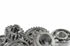 Gears and bearings. On the white background royalty free stock photos