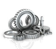 Gears and bearings isolated white background. Stock Photography