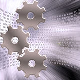 Gears and binary code Royalty Free Stock Images