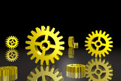 Gears on Black Royalty Free Stock Images