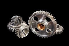 Gears on a black background Stock Images