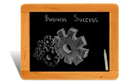 Gears on black board wooden frame Royalty Free Stock Images