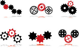 Gears - black and red - 3 Royalty Free Stock Photography