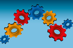 Gears on blue background. Vector illustration of 3D gears in red, orange and blue royalty free illustration