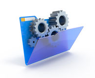 Gears in a blue folder. Royalty Free Stock Photos