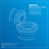 Gears Blueprint Background. Vector. Royalty Free Stock Photo