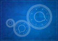 Gears blueprint. Business concept. Stock Photos