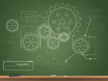 Gears Blueprint Chalkboard Illustration Royalty Free Stock Image