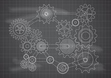 Gears Blueprint Chalkboard Vector Illustration Stock Images